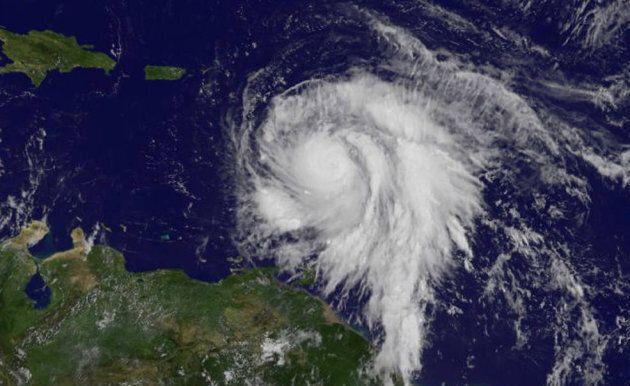 Hurricane Maria is shown in the Atlantic Ocean in this NOAA's GOES East satellite as it strengthened...