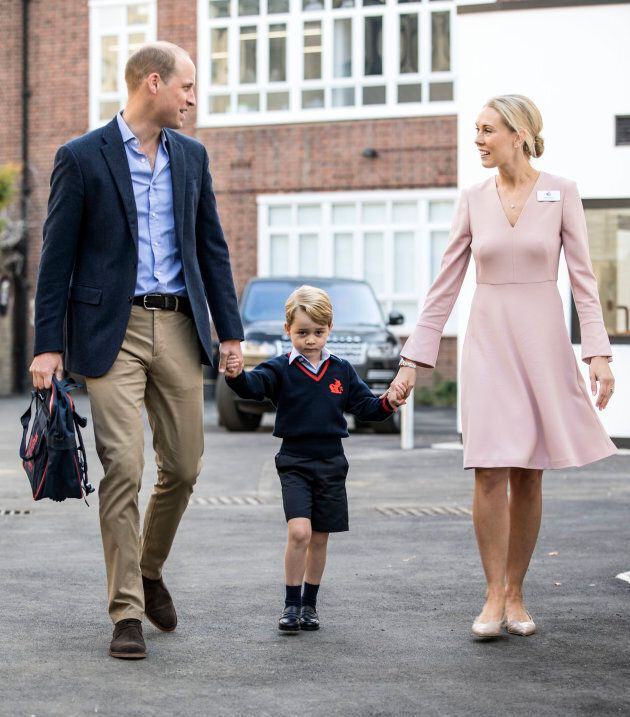 Prince George of Cambridge arrives for his first day of school with his father Prince William, Duke of...