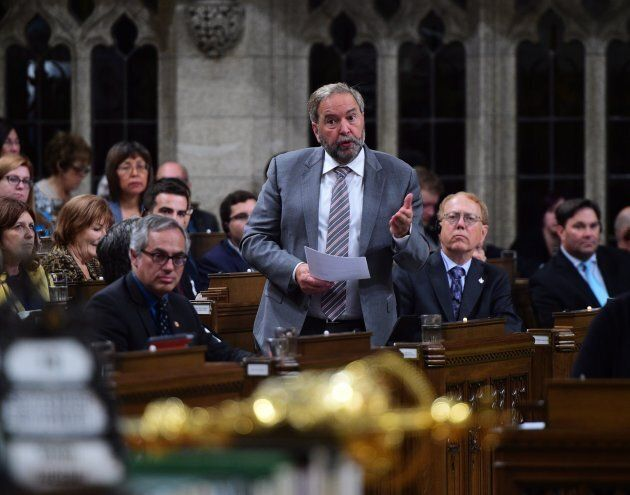 NDP Leader Tom Mulcair stands during question period in the House of Commons on Parliament Hill in Ottawa...