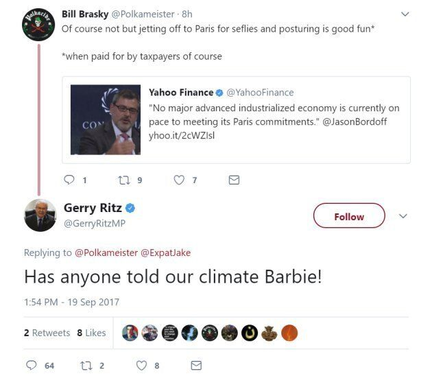 A screengrab of the deleted tweet for which Tory MP Gerry Ritz apologized on Sept. 19,