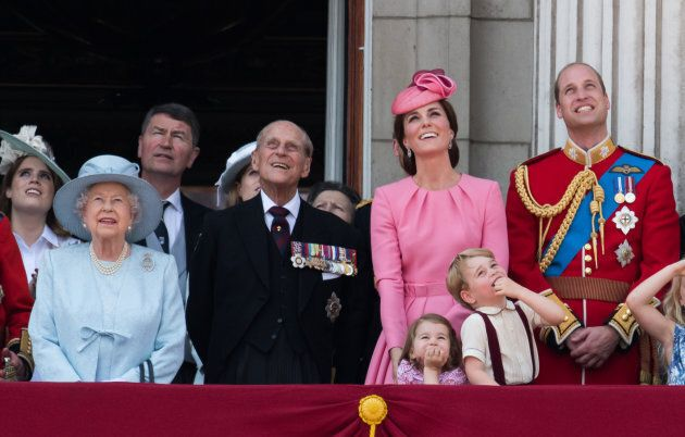 Queen Elizabeth II, Prince Philip, Duke of Cambridge, Duchess of Cambridge, Princess Charlotte of Cambridge,  Prince George of Cambridge and Duke of Cambridge during the annual Trooping The Colour parade on June 17, 2017 in London.  (Samir Hussein/WireImage)