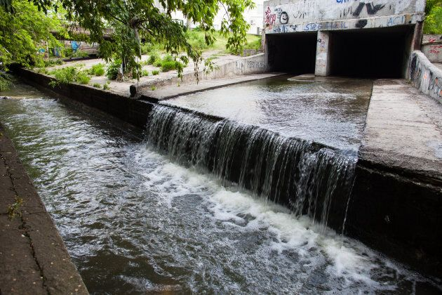 """Traditional, or """"grey,"""" infrastructure includes storm drains that simply displace water."""
