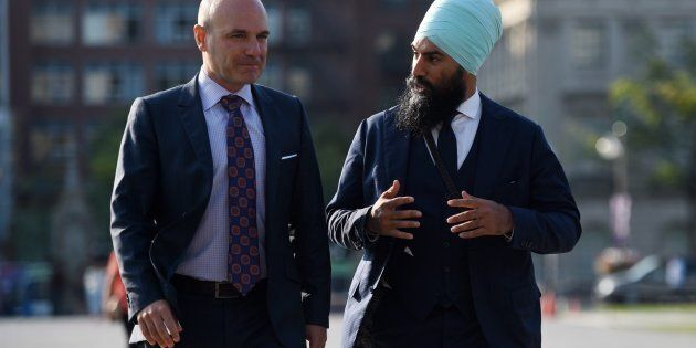 NDP leadership candidate Jagmeet Singh walks with NDP MP Nathan Cullen on Parliament Hill on Sept. 20,