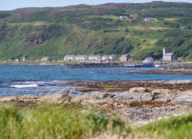 White houses and a church on Rathlin Island, Northern
