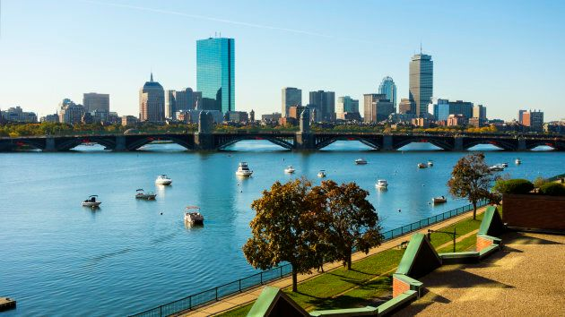 Boston, Mass. on a beautiful day in autumn as seen from