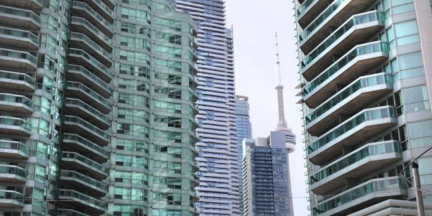 Condo towers at the corner of Yonge and Queen's Quay in Toronto. Data shows that there are more house-flippers...
