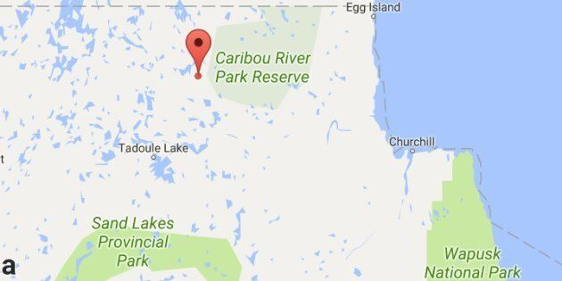 The Manitoba government will sign a piece of land near Duck Lake (marked in red) back to the Sayisi Dene...