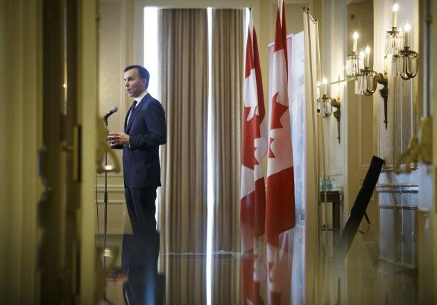 Bill Morneau, Canada's finance minister, speaks during a Canadian Club of Toronto and Empire Club of...