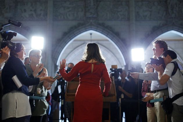 Canada's Foreign Minister Chrystia Freeland speaks to journalists on Parliament Hill in Ottawa, August...