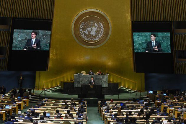 Prime Minister Justin Trudeau speaks during the 72nd session of the General Assembly at the United Nations...