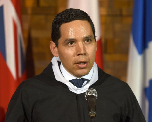 Natan Obed, president of Inuit Tapiriit Kanatami, talks to media after the opening of the First Ministers...