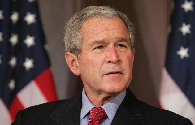 Former U.S. President George W. Bush speaks in Washington, DC, on April 9,