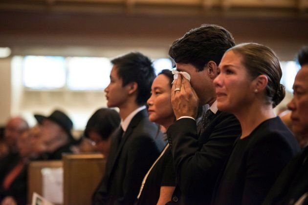 Prime Minister Justin Trudeau and Sophie Gregoire Trudeau attend a funeral service held for former Liberal...