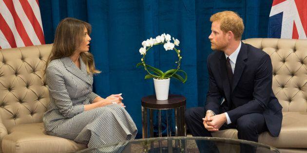 Prince Harry meets Melania Trump before the Invictus Games Toronto on Saturday. (Photo: Pool/Samir