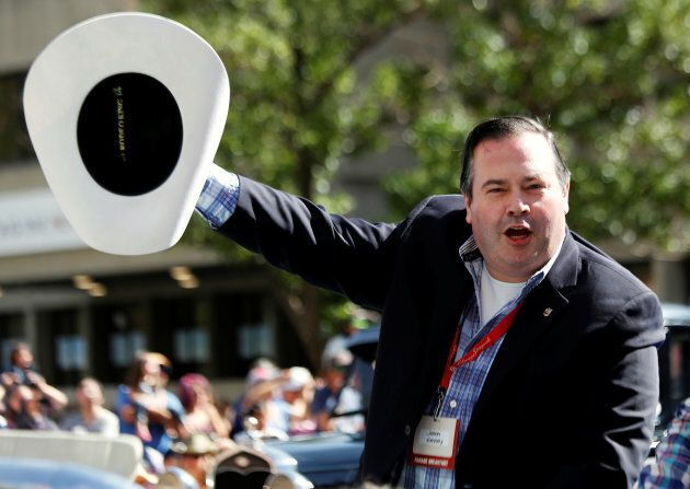 Jason Kenney takes part in the Calgary Stampede parade on July 8,