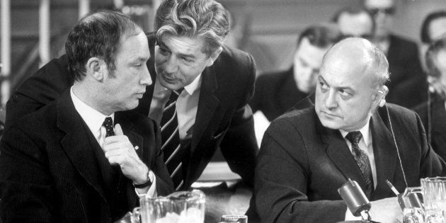 From left:  Pierre Trudeau, Jean Marchand and Edgar J. Benson at the Federal Provincial Constitutional Conference in Ottawa on Feb. 11, 1969.
