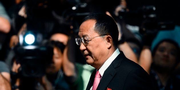 North Korean Foreign Minister Ri Yong-ho leaves his hotel in New York on Sept. 25,