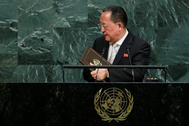 North Korean Foreign Minister Ri Yong-ho departs after addressing the 72nd United Nations General Assembly...