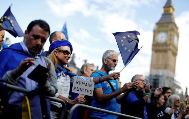 Pro-EU demonstrators in London's Parliament Square during the anti-Brexit 'People's March for Europe',...