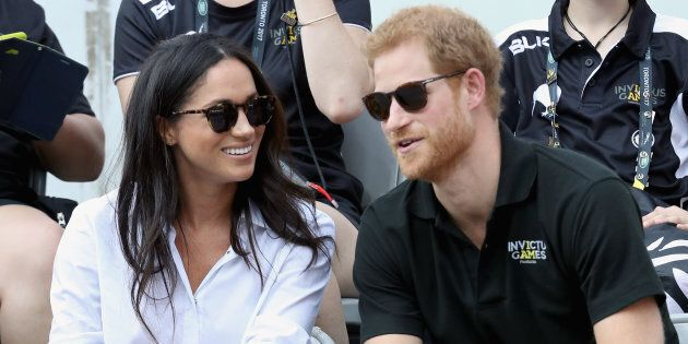 Prince Harry and Meghan Markle attend a Wheelchair Tennis match during the Invictus Games 2017 at Nathan Philips Square on September 25, 2017 in Toronto. (Chris Jackson/Getty Images for the Invictus Games Foundation )