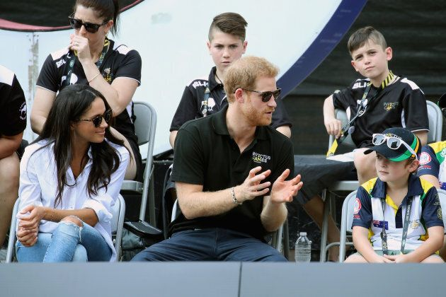 Prince Harry and Meghan Markle attend a Wheelchair Tennis match during the Invictus Games 2017 at Nathan...