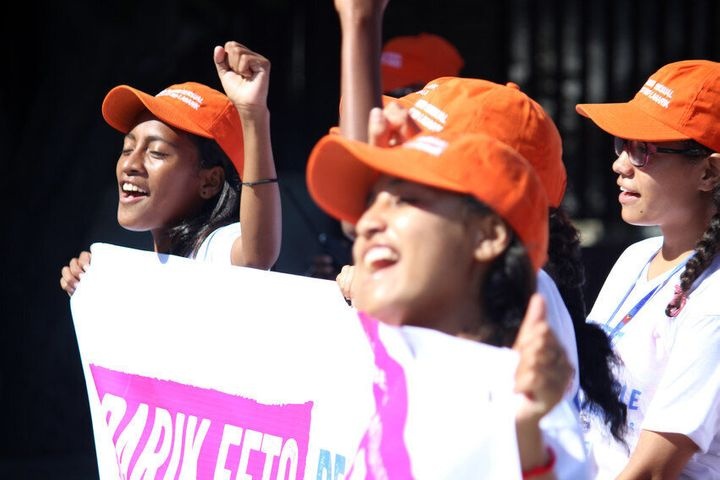 Girls take part in march to mark the International Day of the Girl.