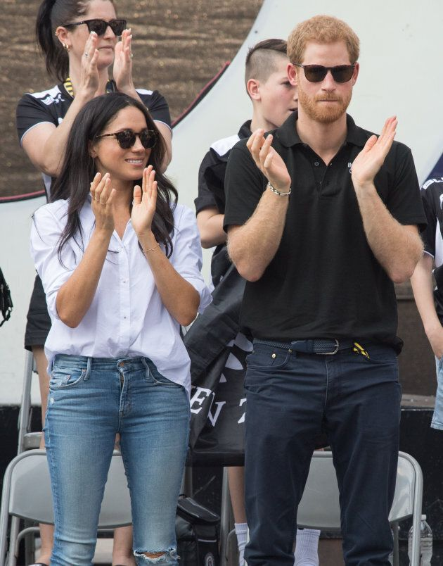 Meghan Markle and Prince Harry appear together at the wheelchair tennis at the Invictus Games Toronto...