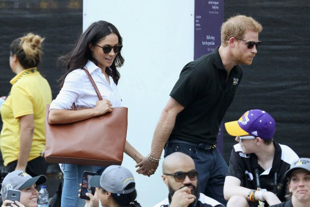 Prince Harry and Meghan Markle attend a Wheelchair Tennis match during the Invictus Games 2017 on September...