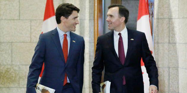 Prime Minister Justin Trudeau, left, and Finance Minister Bill Morneau in Ottawa, March 22, 2016.