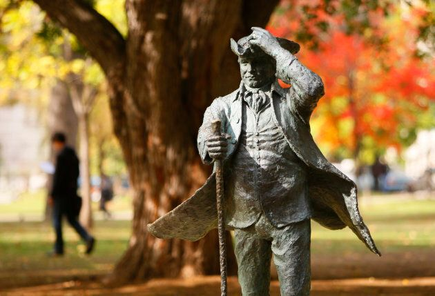 A statue of McGill University founder James McGill is seen on the campus in Montreal, QC on Oct. 2,