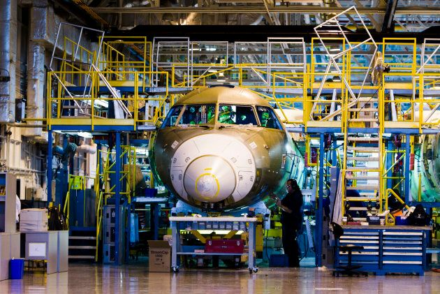 Bombardier Global 5000 jets are seen being assembled at the Bombardier aircraft manufacturing facility...
