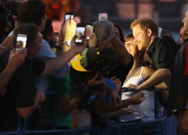 Prince Harry meets fans during the Invictus Games 2017 at the CN Tower on September 26, 2017 in Toronto,...
