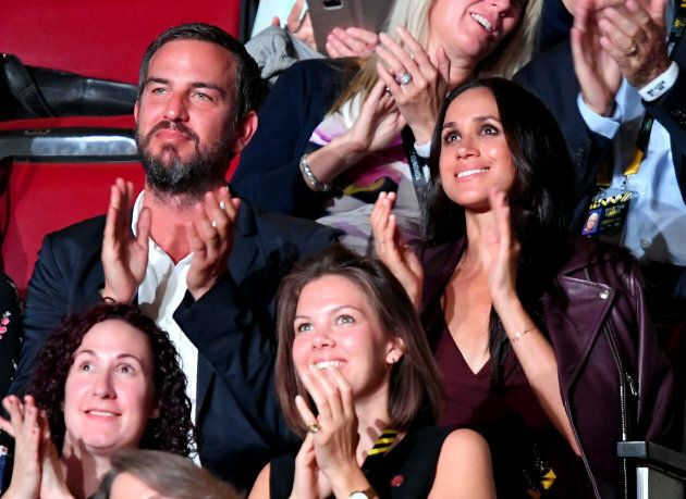Soho House consultant Markus Anderson (L) and actress Meghan Markle attend the opening ceremony on day...