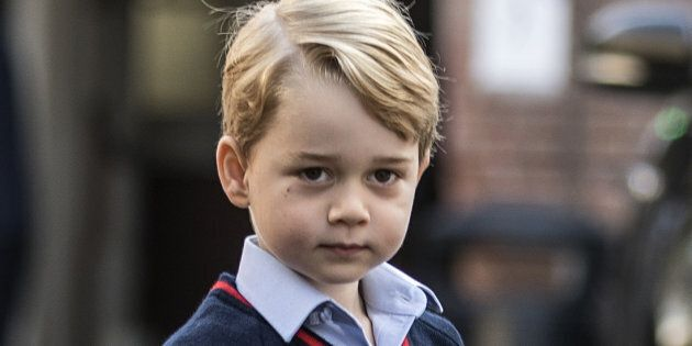 Prince George arrives for his first day of school at Thomas's
