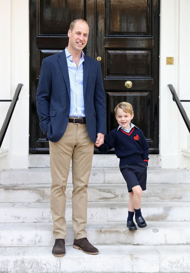 Prince William with his son Prince George on his first day of school on September 7, 2017 in London.