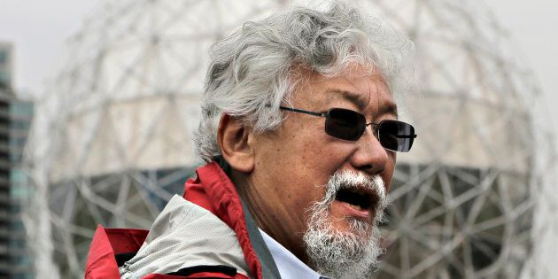 Canadian environmentalist David Suzuki talks to media during a news conference in Vancouver, B.C., June...