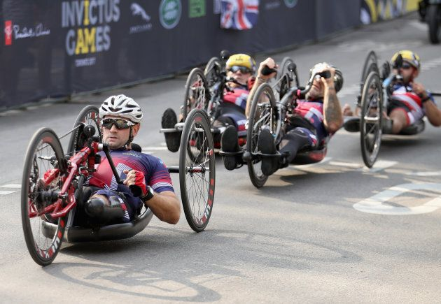 Cyclists compete in the Cycling Criterium time trial during the Invictus Games 2017 at High Park on September...