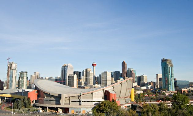 Downtown Calgary with the Saddledome in