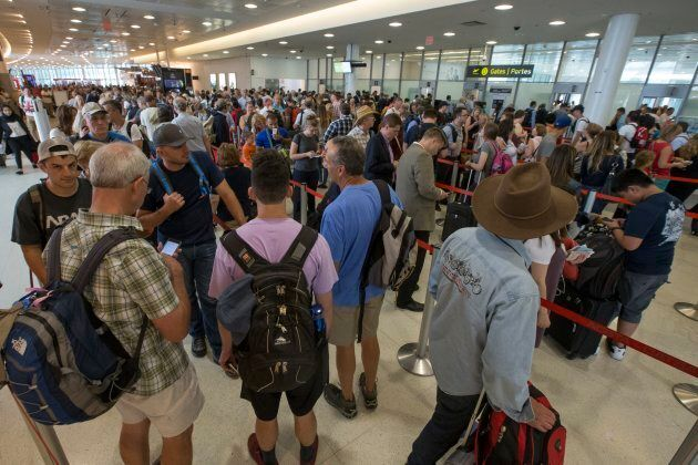 The lineup to enter security at Pearson International Airport's Terminal 1.