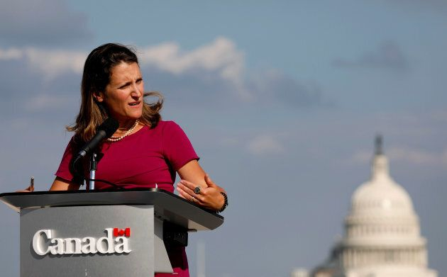 Foreign Minister Chrystia Freeland speaks at a news conference at the start of NAFTA renegotiations in...