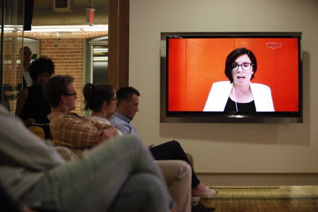 NDP leadership candidate Niki Ashton speaks, via Skype, during a debate hosted by HuffPost Canada in Toronto on Sept. 27, 2017.