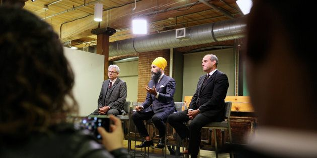NDP leadership candidates Charlie Angus, Jagmeet Singh, Guy Caron participate in a debate hosted by HuffPost...