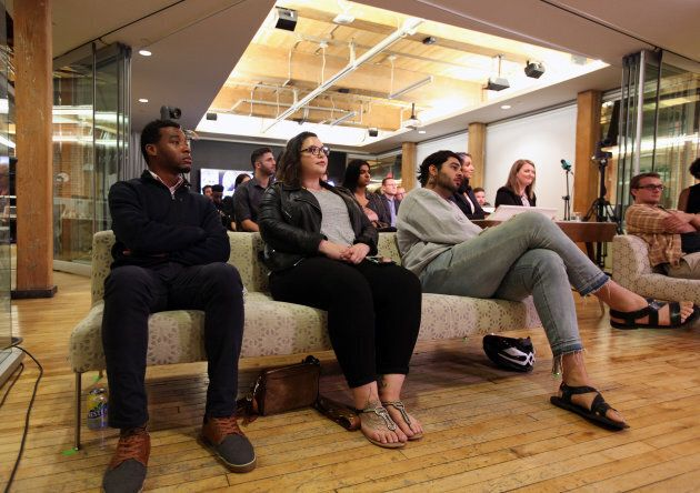 Audience members listen to an NDP leadership debate hosted by HuffPost Canada in Toronto on Sept. 27, 2017.