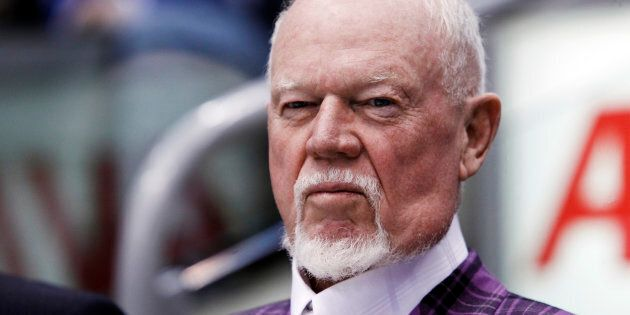 Hockey commentator and former coach Don Cherry looks on during the 2011 CHL/NHL top prospects skills...