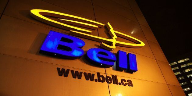 A nighttime shot of Bell Canada's corporate logo, seen in Montreal. Bell is urging the government to include tough copyright measures in NAFTA.