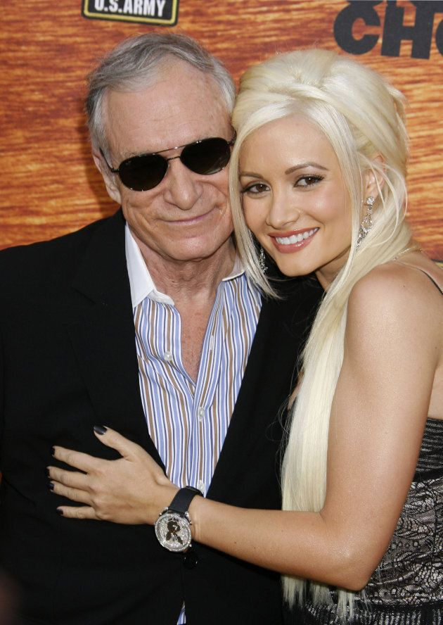 Hugh Hefner and Holly Madison arrive at Spike TV's 2nd Annual Guys Choice Awards on May 29, 2008 in Los...