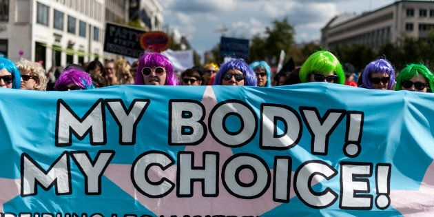 Approximately 2,000 people participate in the counter-demonstration with the Motto 'My Body My Choice'....