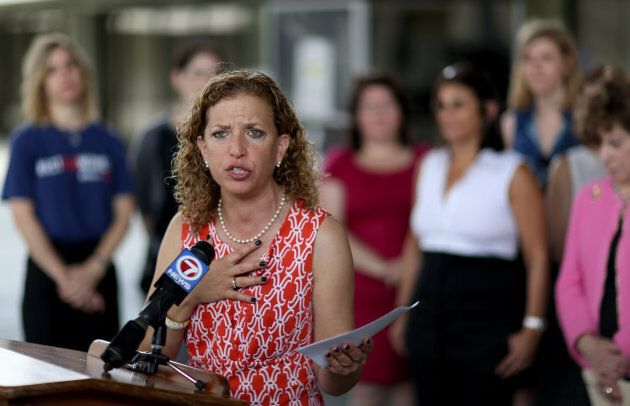 Rep. Debbie Wasserman Schultz (D-FL) is joined by local lawmakers and womens health advocates to call for Florida Governor Rick Scotts veto of a recently passed measure that they feel severely restricts access to safe and legal abortions on April 27, 2015 in Fort Lauderdale, Florida.  (Photo by Joe Raedle/Getty Images)