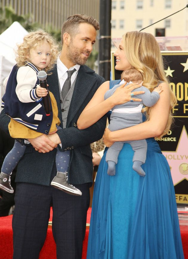 Ryan Reynolds and Blake Lively with their, children attend the ceremony honoring actor Ryan Reynolds...