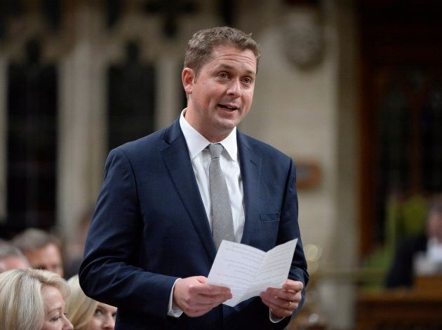 Conservative Leader Andrew Scheer rises during question period in the House of Commons on Sept.28,